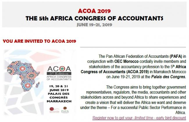 ICPAU SUPPORTS ACOA2019- THE 5TH AFRICA CONGRESS OF ACCOUNTANTS SCHEDULED 19-21 JUNE, MARRAKECH, MOROCCO